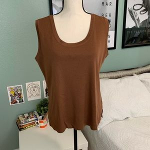 Exclusively Misook   Brown Knit Tank Top XL